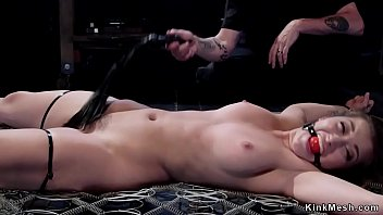 Hairy shackled beauty gets toyed