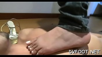 Nasty beauty dominates and grinds dick with her sexy feet