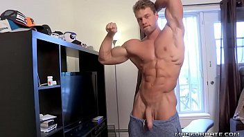 Attractive muscular hotty jerking off