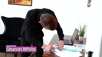 GIRLSRIMMING - Gorgeous office rimming with busty blonde Sharon White Sam Bourne