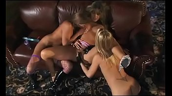 Three nice tits babes Becca Bratt, Felicia Fox and Bionca Seven fingering each other's twats on sofa and enjoys it
