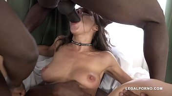 Interracial double penetration orgy shows Henessy swallowing 3 black monster cocks