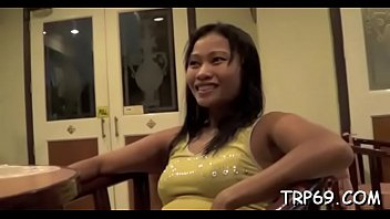 Lewd thai babe shows her hairless twat and gets it drilled