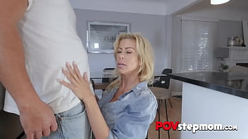 PERV cougar TITFUCKED by her horny STEPSON in the kitchen