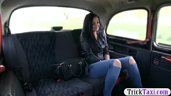 Pussy In Taxi Takes Off Her Jeans And Fucks With This Crazy Taxi Driver
