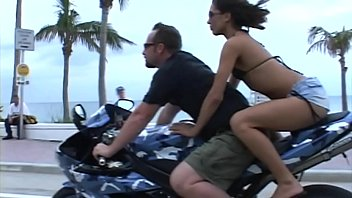 Original MILF Hunter pounds a tiny sluts asshole for for some deep anal on a motorcycle and dumps huge load on her face