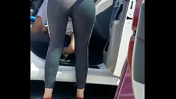 White Girl With Leggings At Car Wash