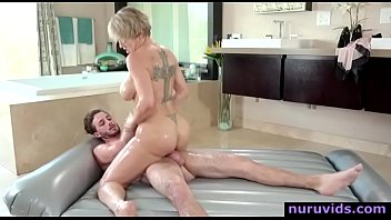 Blonde big tits milf riding young cock