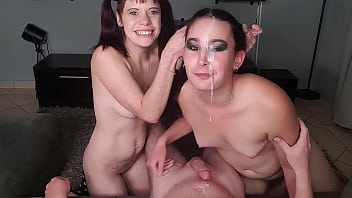 CoverFFM dick sucking   one girl spits cum in other girl's face   Smoking threesome cock sucking