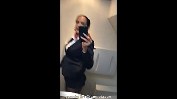 Latina Stewardess Joins The Masturbation Mile High Club In The Lavatory And Cums