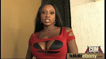 Bukkake 5 - Ebony babe sucks group of white guys 5