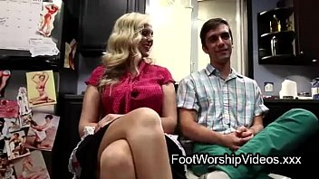 Guy fucks and licks feet on milf in her kitchen Image