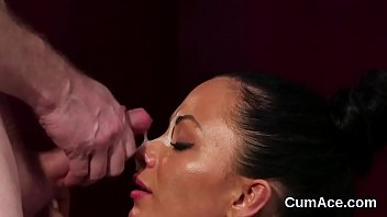 Slutty doll gets sperm shot on her face eating all the jism preview image