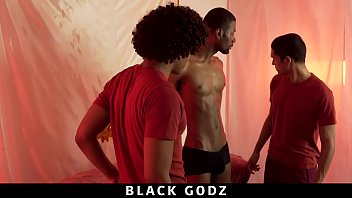 Young black gay studs Blackgodz - fit bbc stud gets worshipped by two boys