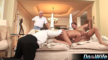 Blonde wife fucks 2 guys and great facial preview image