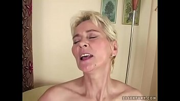Handjob grany Grandma cums on young dick