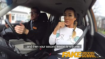 Black busty tit - Fake driving school busty gym bunny big tits bounce as she squats on cock