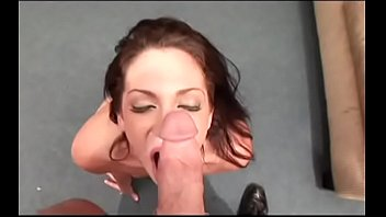 Nasty brunette bitch Sassy Vallore sucks massive dick to takes cum on her face