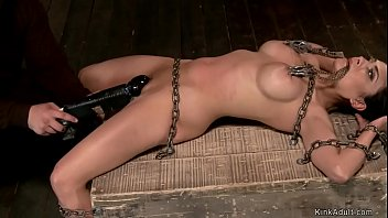 Huge tits chained slave pussy toyed