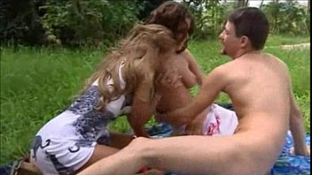 Two gorgeous girls have a horny picnic time pornstar hardcore blowjob threesome outdoor kissing puss