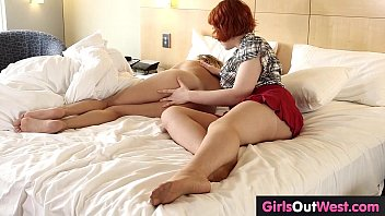 Hairy redhead and busty blonde fuck at hotel