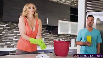 Busty blonde MILF fucks with her stepson in the kitchen