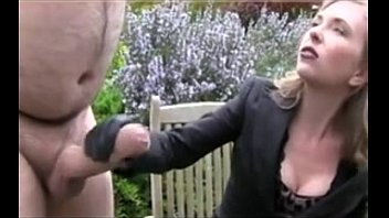 Chubby guy with huge massive monstrous cock gets handjob from dominatrix....
