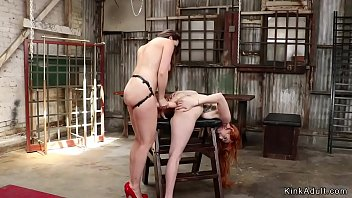 Redhead lesbian butt whipped and banged