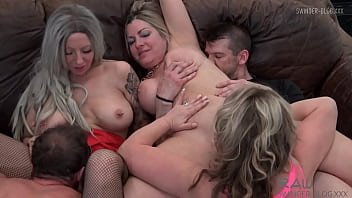 Four horny sluts sucking and fucking at amateur swinger orgy 10 min