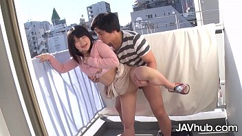 JAVHUB Japanese teen fucked from behind on the balcony