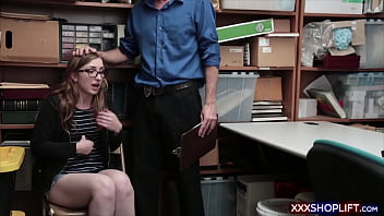 Geeky shoplifter chick punished by a blowjob