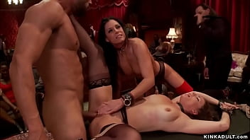 MILF and young slave banged at party
