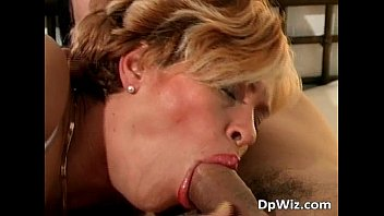 Hot MILF blonde and two hard big cocks