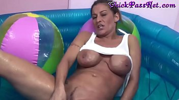 Big Tit Brunette Lisa Plays In A Pool