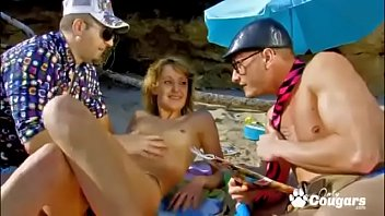 Evy Sky Gets Double Fucked At The Beach By A Couple Nerds