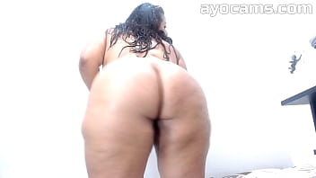 Beautiful busty brunette BBW masturbating and dancing