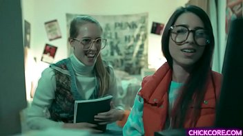 Nerdy lesbian teens Cadence Lux and Serena Blair experimented a virtual 3D creation that came to life and started a hot lesbian threesome with her.