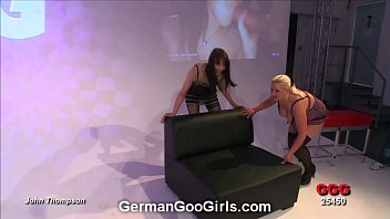 Blonde and brunette babes get their faces splattered with goo thumbnail