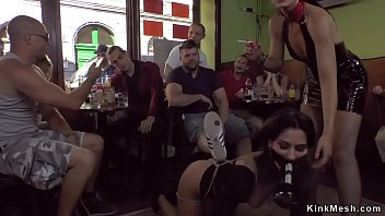 Petite beauty gangbang fucked in cafe