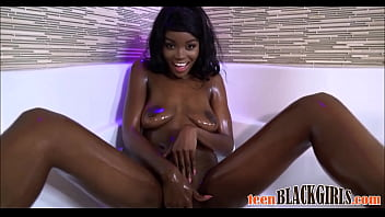 WOW Hot Black Ebony Teen Kandie Monaee Oiled Up And Fucked By Big White Cock During Casting POV