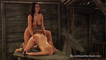 Big boob bound - The submissive: big natural boobs bouncing during strap-on sex