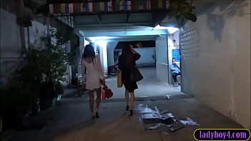Three ladyboys taken home by one guy who fucks them in turns