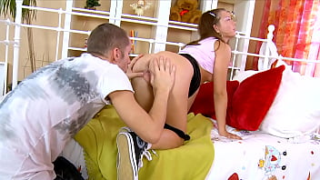 Wrecking Her Rectum! Cute Little Teenie in Sneakers Fucked From Ass to Mouth. Real Couple Anal & Cum in Ass!