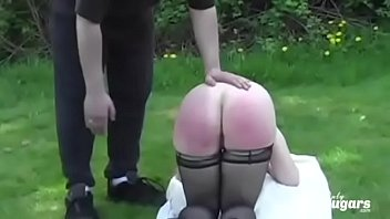 Publicly spanked Naughty milf has her big ass spanked red