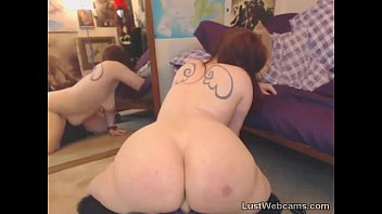 bbw anal dildo ride - Chubby redhead rides dildo on webcam