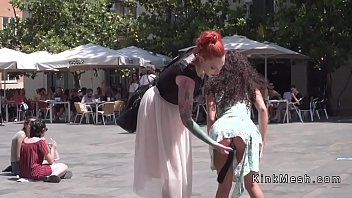Anal plugged petite slave in public