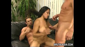Butter face Asian cuttie getting double penetrated like crazy thumbnail