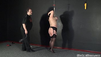 Image: Tit hanging of mature roped slavegirl Andrea in extreme big tit whipping