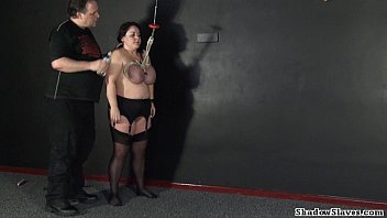 Squeeze tits tied breast hanged breast - Tit hanging of mature roped slavegirl andrea in extreme big tit whipping