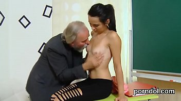 Kissable college girl gets tempted and rode by older mentor